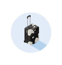 Isometric black and white suitcase vector