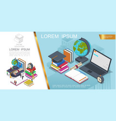 isometric online education composition vector image
