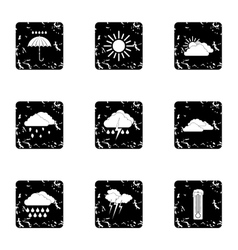 Kinds of weather icons set grunge style vector image