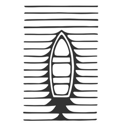 lonely boat my cleaving the wave floats vector image