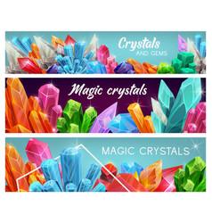 Magic crystal gems gemstones cartoon jewel vector