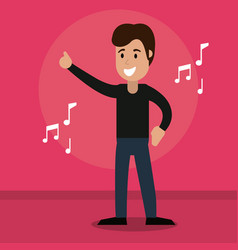 Man cheerful dance music vector