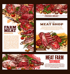 meat fresh cut sketch banner template set vector image