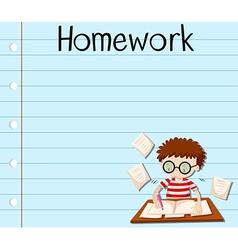 Paper design with boy doing homework vector