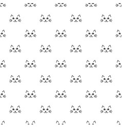 Pattern with cute cat faces vector