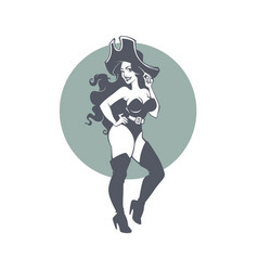 pirate party portrait beautiful pinup lady vector image