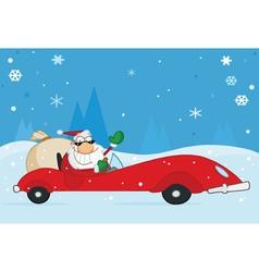 santa driving his car vector image