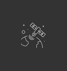 satellite icon in space technology vector image