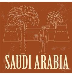 Saudi arabia retro styled image vector