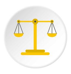 Scales justice icon circle vector