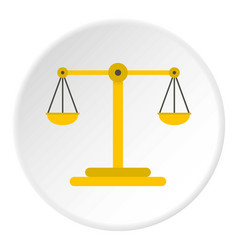 Scales of justice icon circle vector