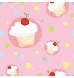 Seamless pattern with cherry cupcakes vector image