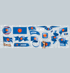 Set national flag asean in vector