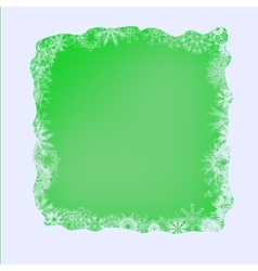 Set of Different Winter Snowflakes on Green vector image