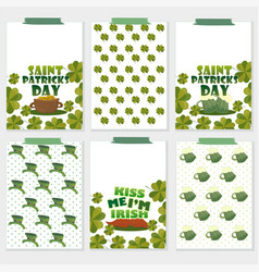 set of six st patricks day cards with beer vector image