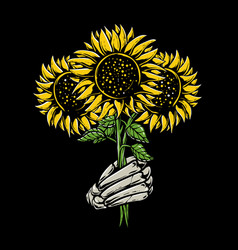 skeleton hands holding sunflower vector image
