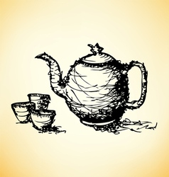 sketch drawing of teapot with cup vector image