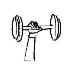 sketch hand holding dumbbell strong sport vector image