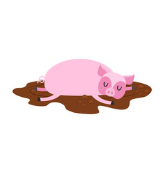 Sleeping pig in mud farm animal is sleeping vector