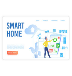 smart home flat landing page template vector image