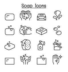 Soap icon set in thin line style vector