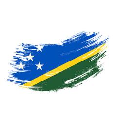 Solomon islands flag grunge brush background vector