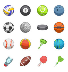 sport balls icons set cartoon style vector image