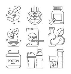 Sport medication icons whey multivitamin pills vector