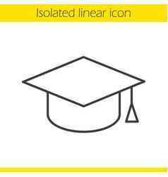 Square academic graduation cap linear icon vector