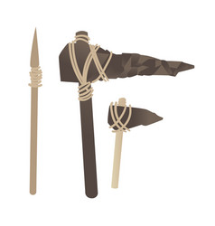 Stone age primitive tools axe hummer spear vector