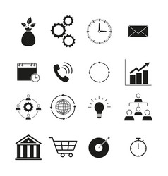 strategy and managment icon set time of icons vector image