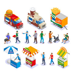 street food isometric icons vector image