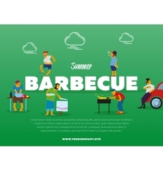 Summer barbecue party banner with people vector