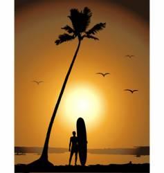 Summer vacations surfing vector