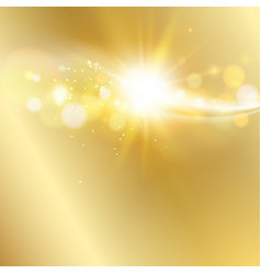 Sun ray shining a top image over golden vector