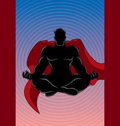 Superhero meditating background silhouette vector