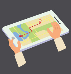 tablet gps map with hands vector image