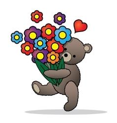 teddy bear with bunch flowers vector image
