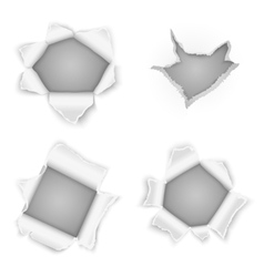 Torn paper holes collection vector image