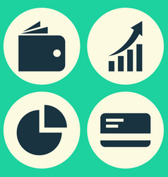 Trade icons set collection of increasing payment vector