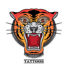 traditional tiger head tattoos vector image