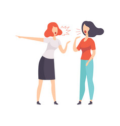 Two young women quarrelling on vector