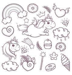 unicorn sweet set in cartoon sketch doodle style vector image