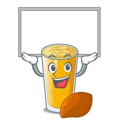 Up board lassi mango in a cartoon glass vector