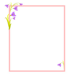 violet flowers in corners of empty frame vector image