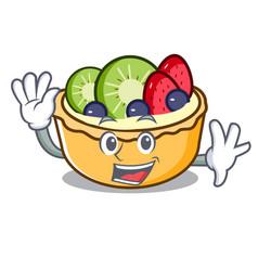 Waving fruit tart character cartoon vector