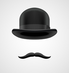 wealthy gentleman with moustaches and bowler hat vector image