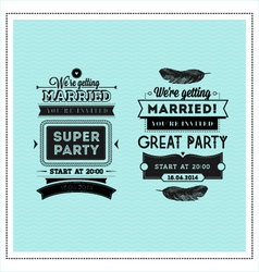 Wedding stamps typography vector