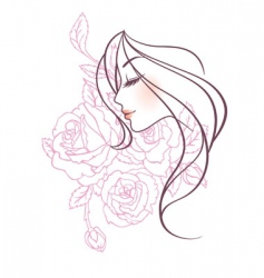 women profile rose vector image