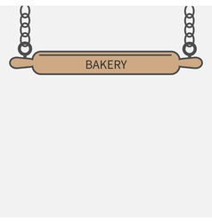 Wooden rolling pin plunger chain Bakery signboard vector